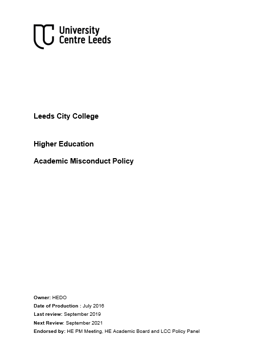 HE Academic Misconduct Policy cover