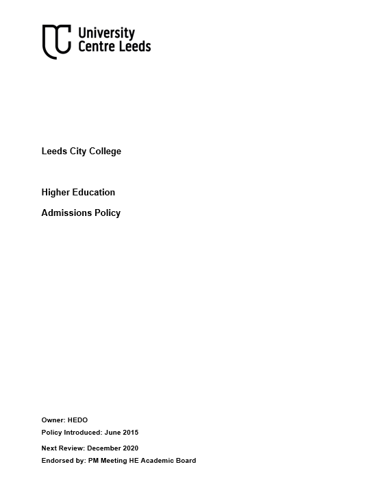 HE Admissions Policy cover