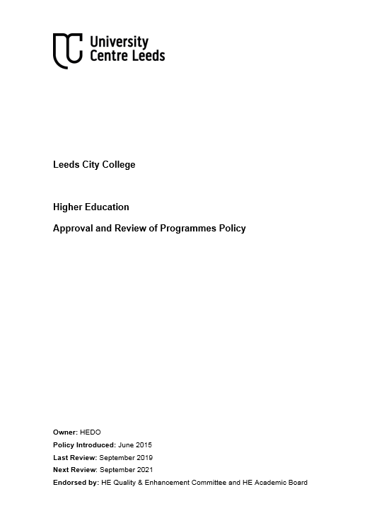 HE Approval and Review Policy cover