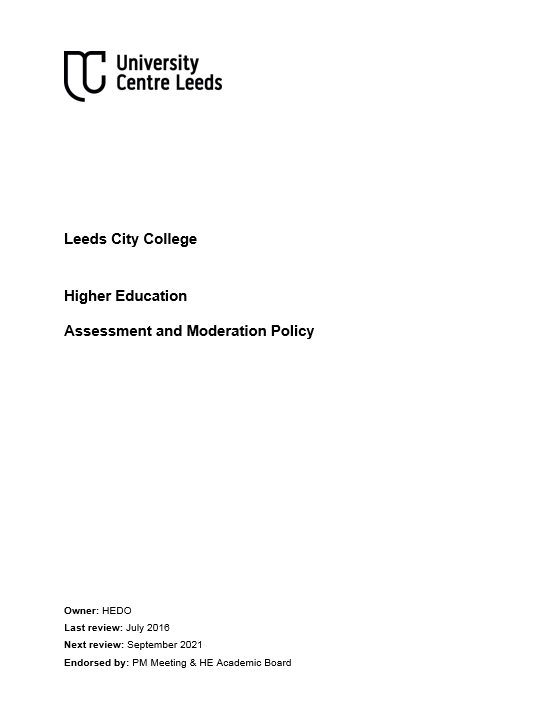 HE Assessment and Moderation Policy cover