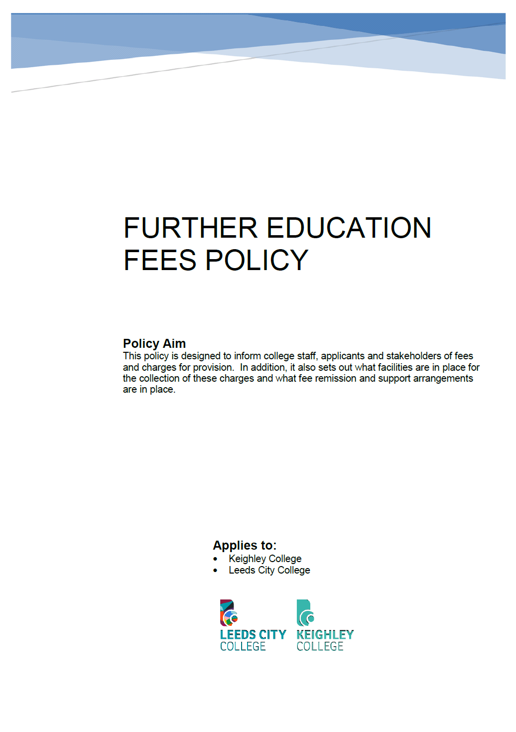 Fees Policy cover