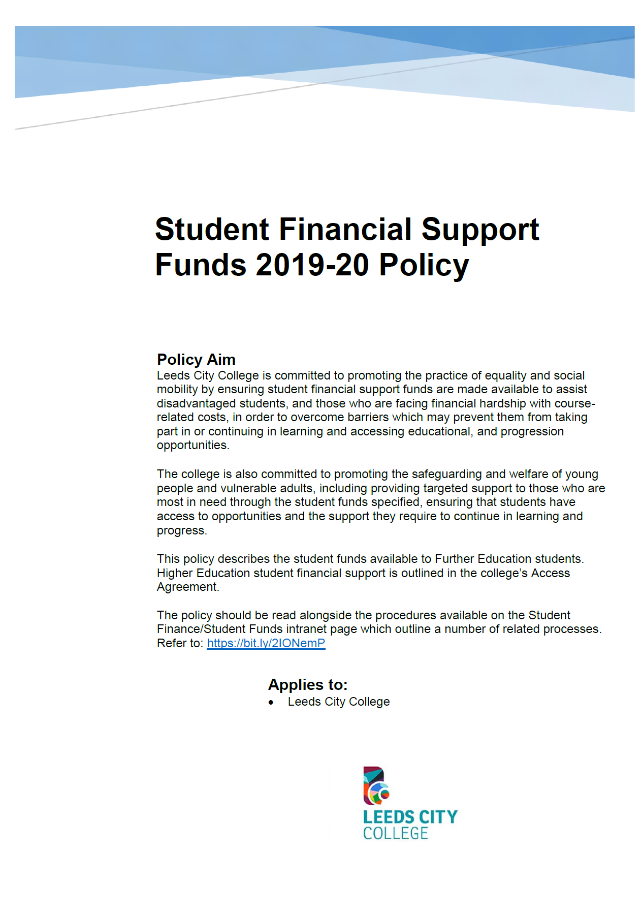 Student Financial Support Policy cover
