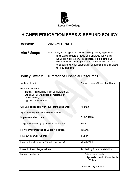 LCC HIGHER EDUCATION FEES POLICY 2021 cover