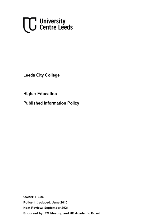 Published Information Policy cover