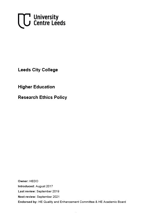 Research Ethics Policy cover