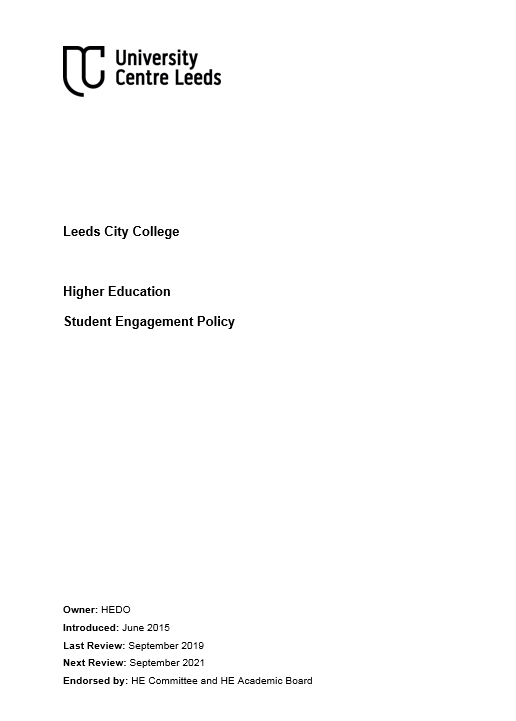 Student Engagement Policy cover