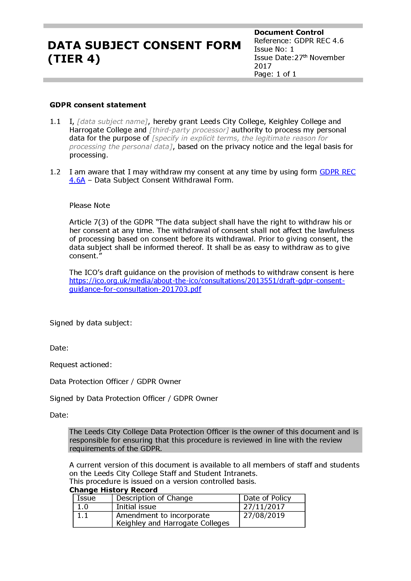 GDPR Data Subject Consent Form cover