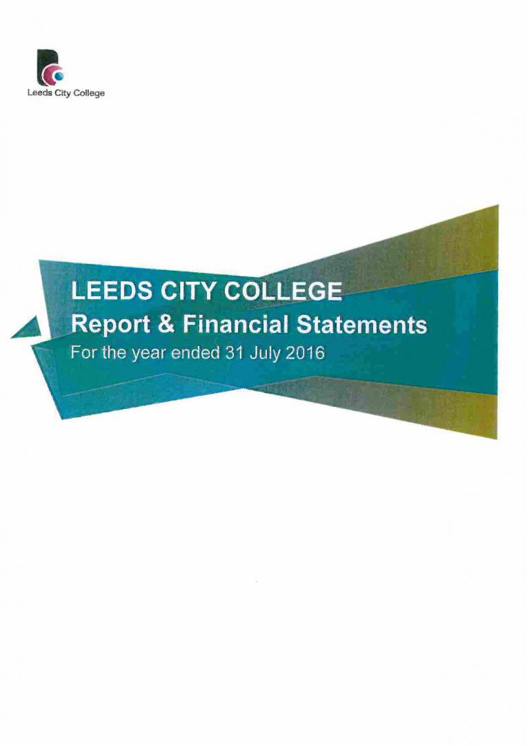 Leeds City College Report & Financial Statements 2015 – 2016 cover