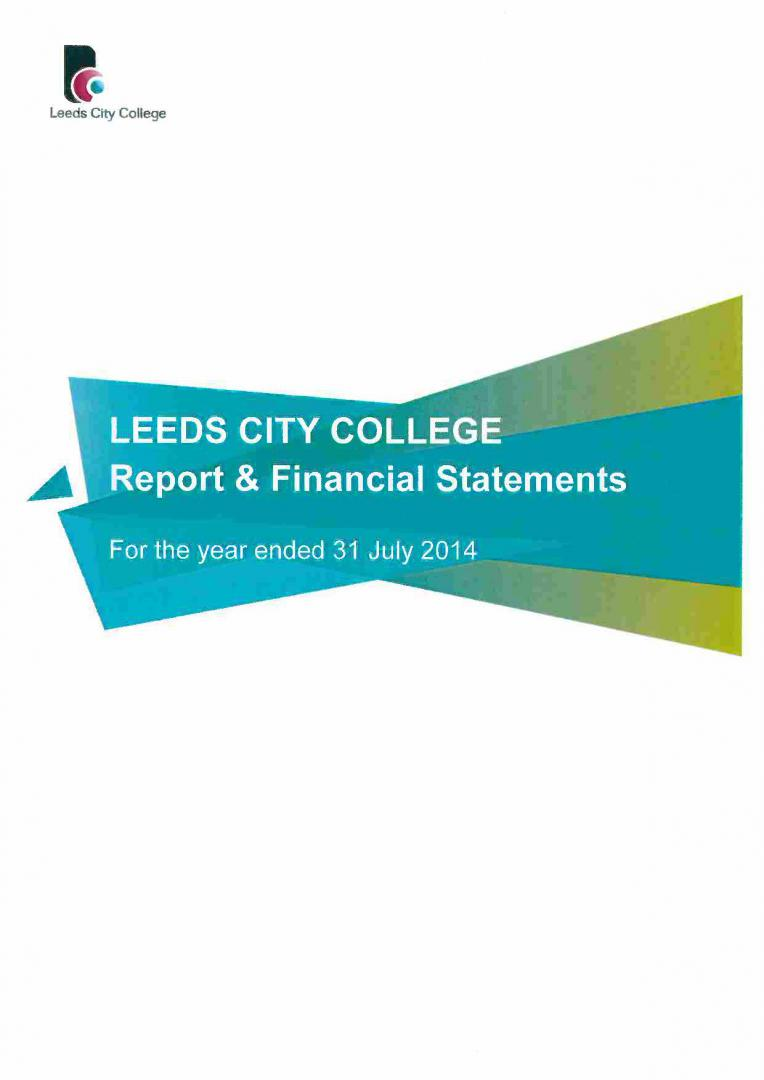 Leeds City College Report & Financial Statements 2013 – 2014 cover