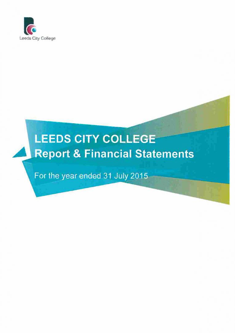 Leeds City College Report & Financial Statements 2014 – 2015 cover