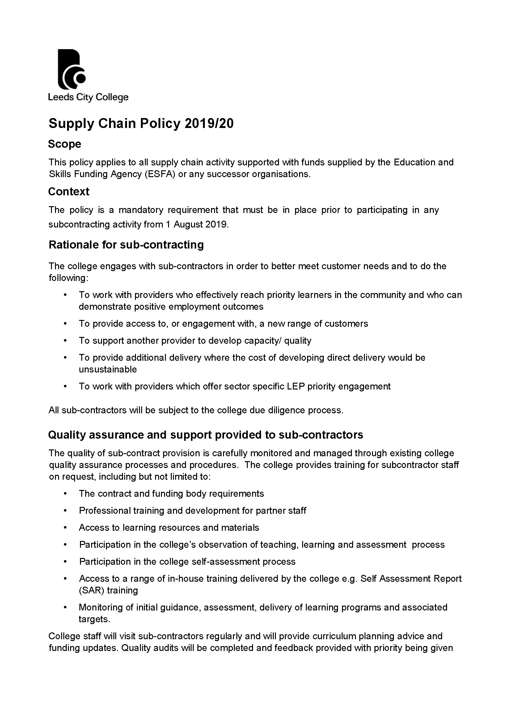 Supply Chain Policy 2019/20 cover