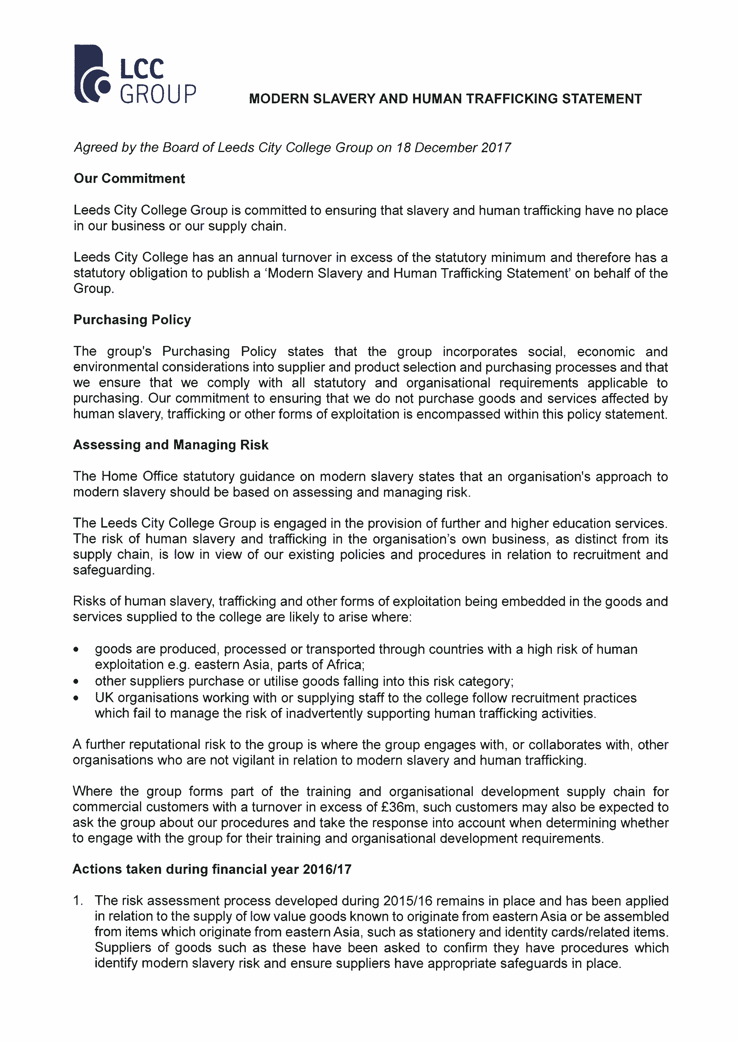 Modern Slavery and Human Trafficking Statement cover