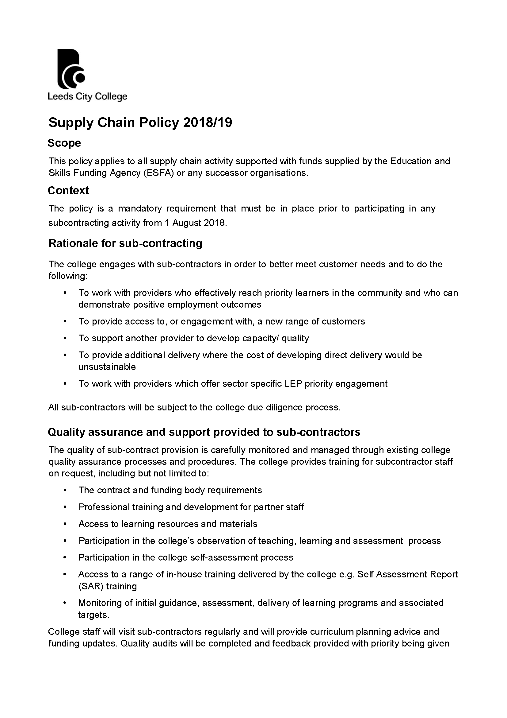 Supply Chain Policy 2018/19 cover