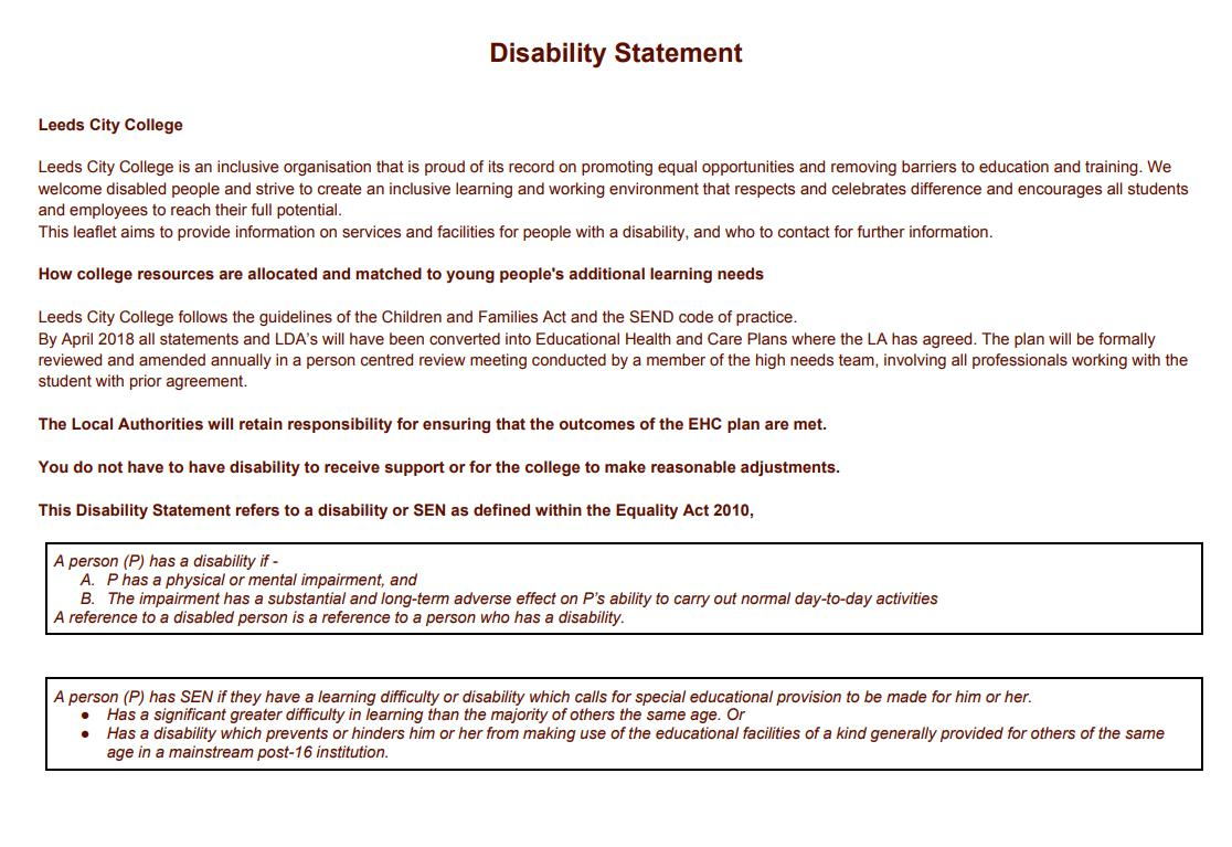 Disability Statement cover