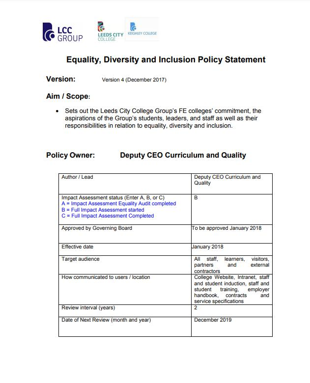 Equality and Diversity Policy 2017 cover
