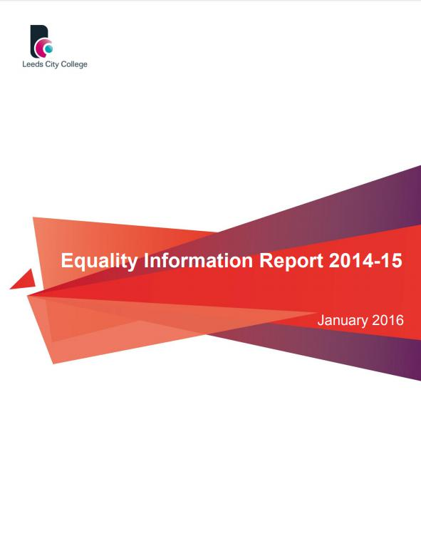 Equality Information Report 2014-15 cover