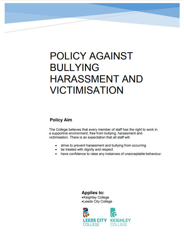 Policy Against Bullying Harassment and Victimisation cover