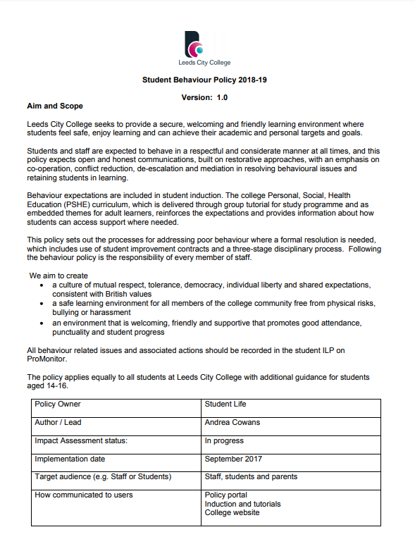 Behaviour Policy 2018-19 cover