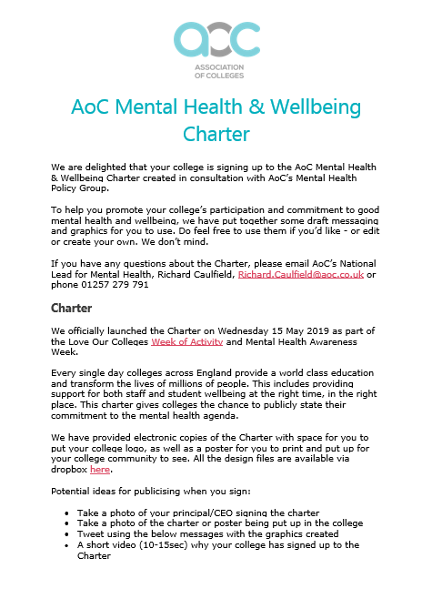 Comms Pack – Mental Health Wellbeing Charter cover