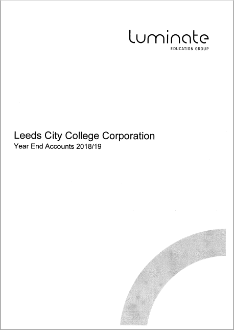 Leeds City College Corporation Financial Statements 2018 – 2019 cover