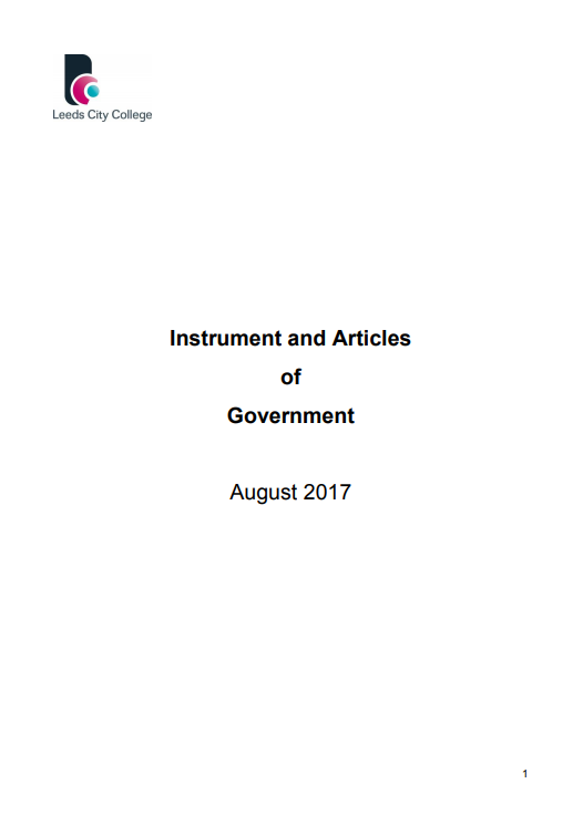 Leeds City College Instrument and Articles of Government cover