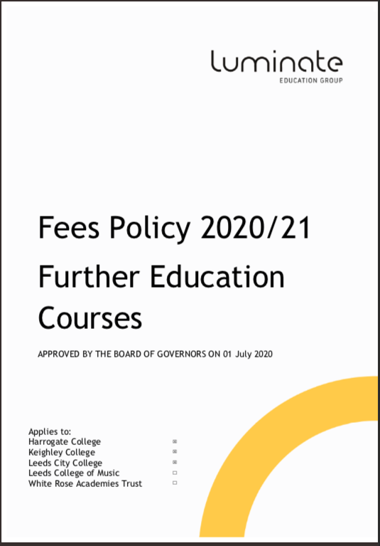 Fees Policy 20/21 cover