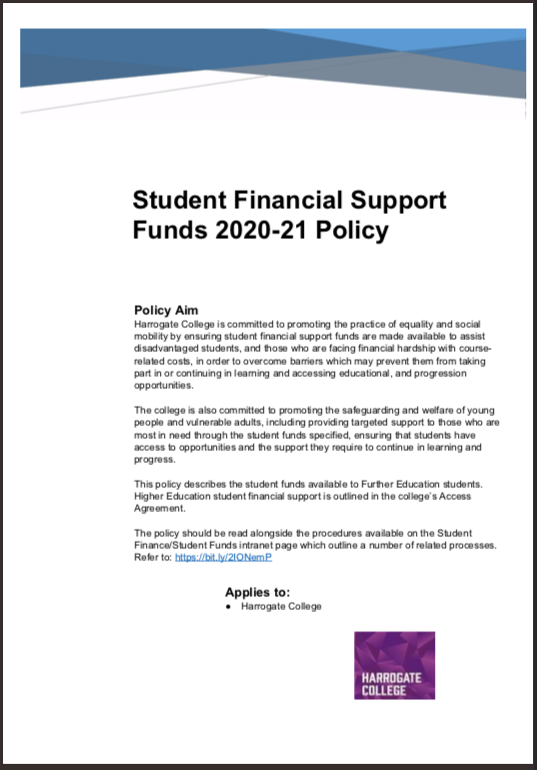 Student Financial Support Fund – Harrogate 2020/21 cover