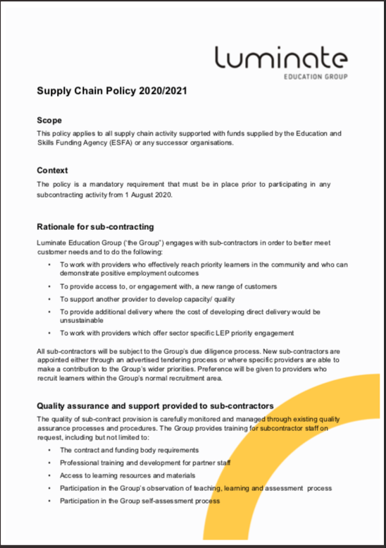 Supply Chain Policy 2020/21 cover