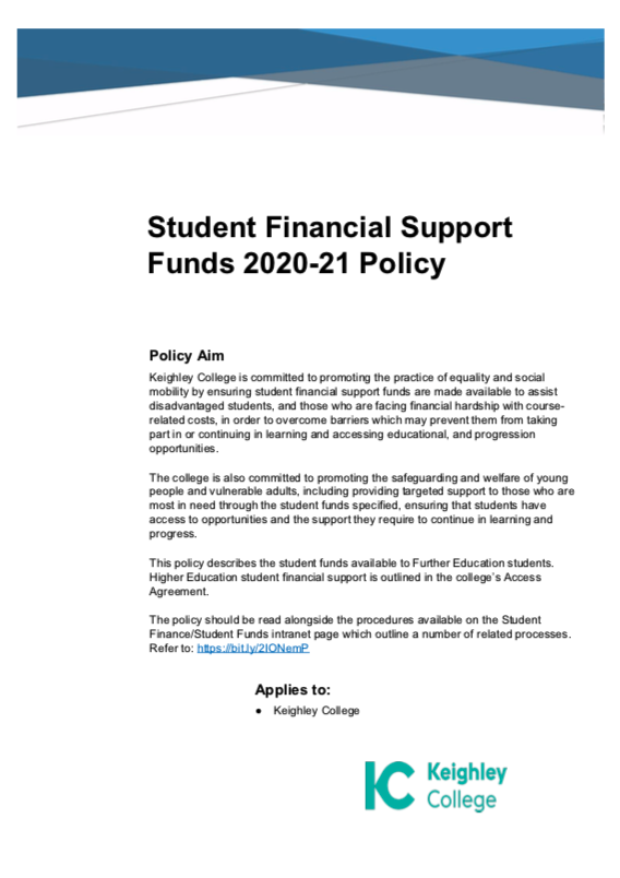 Student Financial Support Fund – Keighley 2020/21 cover