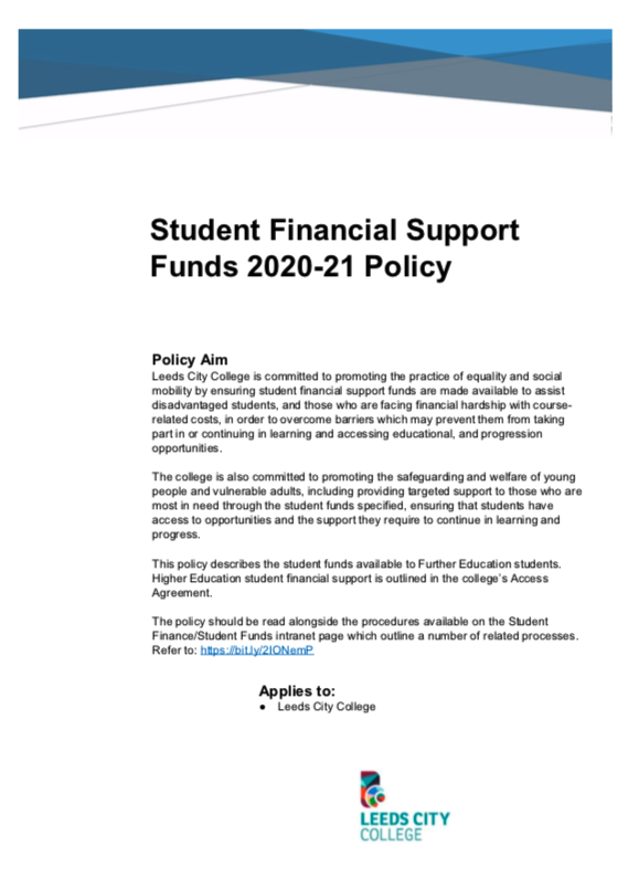Student Financial Support Fund – Leeds City College 2020/21 cover