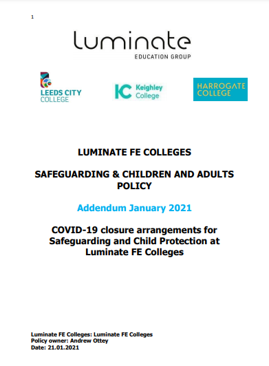 COVID-19 Safeguarding policy addendum – Jan 2021 cover