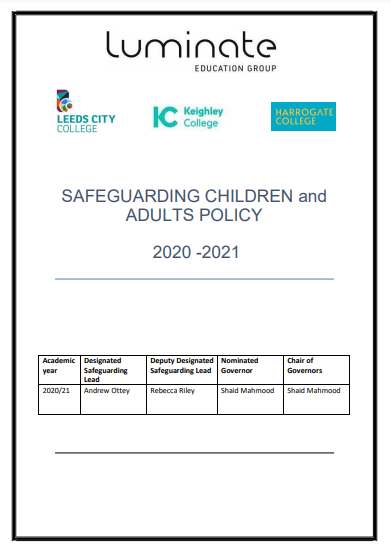 Luminate Safeguarding Children and Adults Policy 2020 – 2021 cover