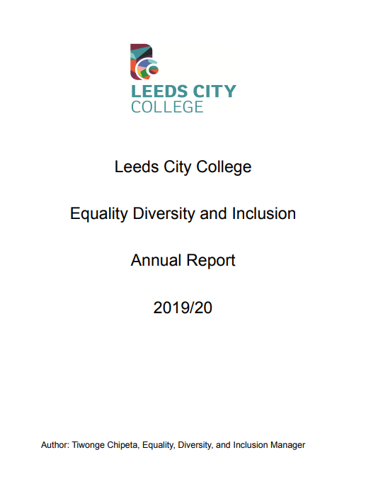 Equality Diversity and Inclusion Annual Report 2019/20 cover